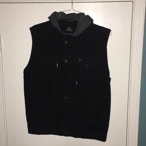 Black, hooded, denim vest